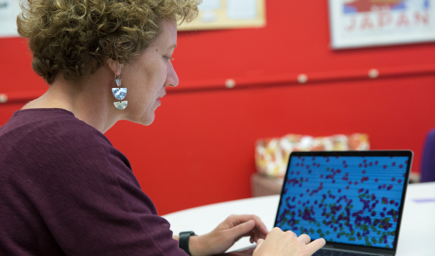Woman on laptop computer in a research lab